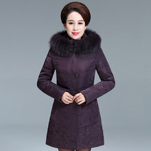 Plus Size Women's Duck Down Jacket Long Winter Coat Fox Fur Collar Jackets for Elderly Women Parkas Chaqueta Mujer KJ483(China)