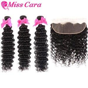 Перуанские волнистые пучки с фронтальной 100% человеческих волос 3/4 пучков с фронтальной Miss Cara remy волос Кружева Фронтальные с пучками