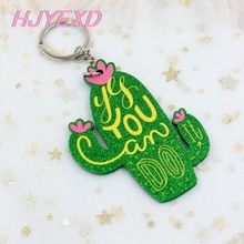 You-Can-Do-It-Cactus-Keychain Acrylic Green with Ring-Laser-Cutout-Kc020 1piece Glitter