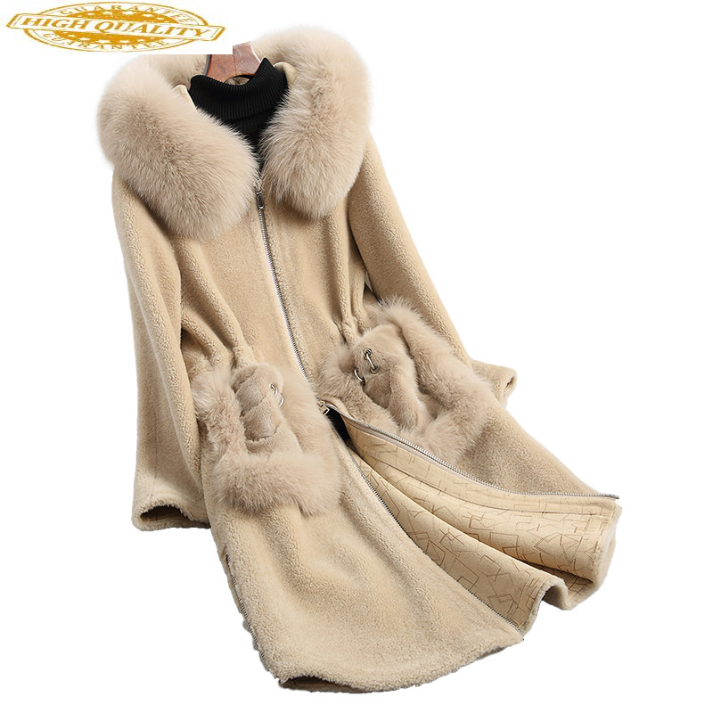 Real Fur Coat Women Sheep Shearling Jacket 2020 Long Warm Wool Coats Natural Fox Fur Hooded Winter Jackets 18108 WYQ1883