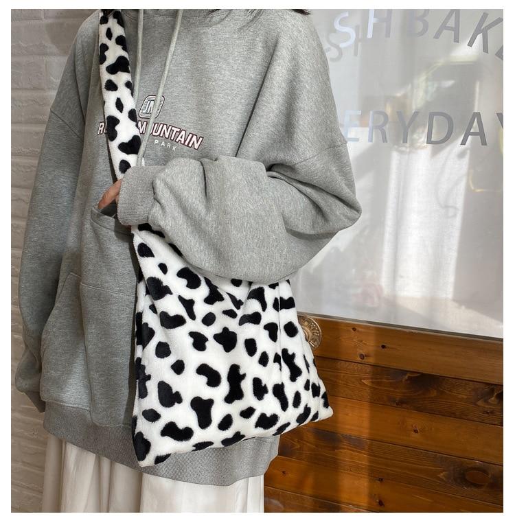 Design elegante padrão de vaca feminina tote