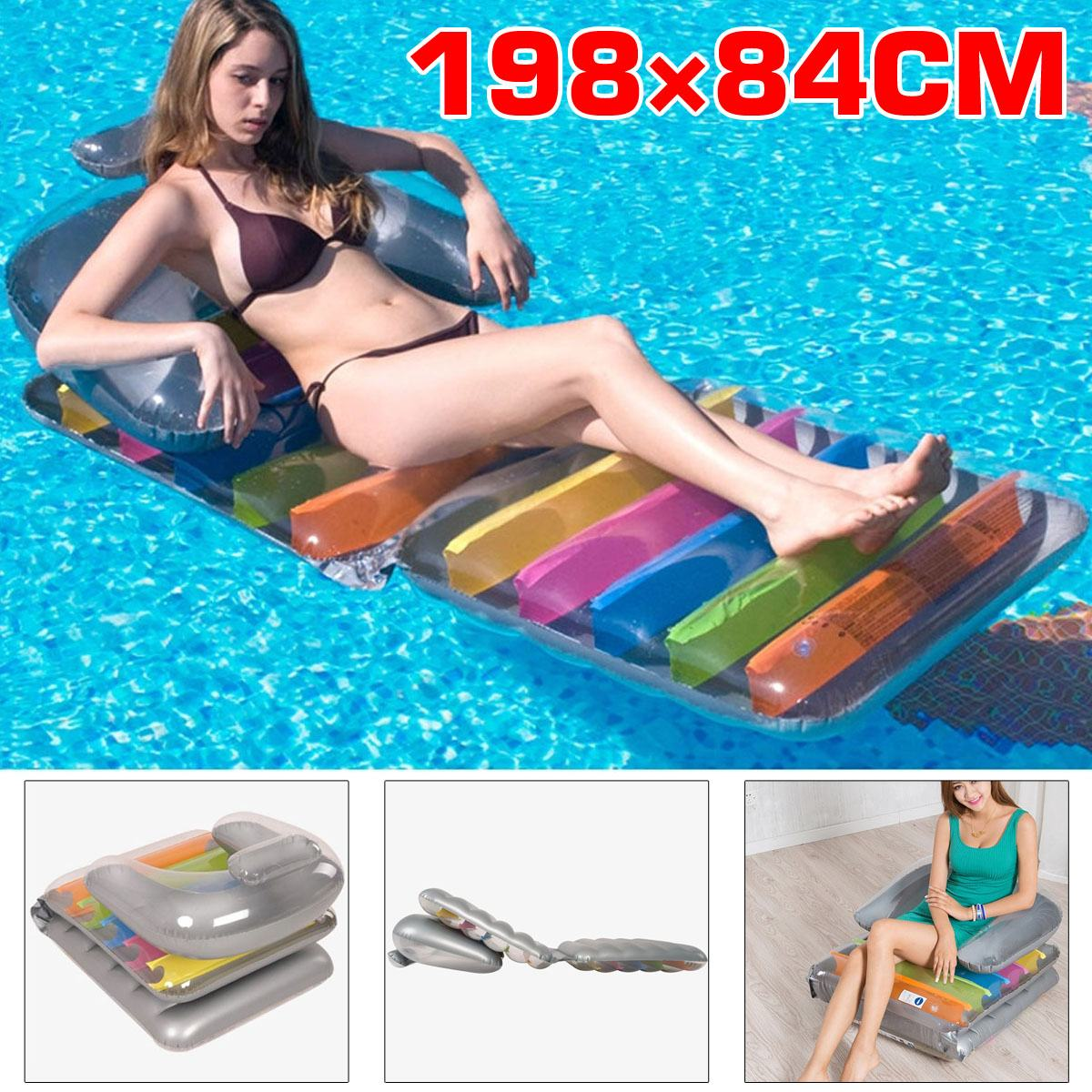 198*84cm Pvc Foldable Water Inflatable Bed Floating Bed Floating Row Water Sofa Recliner Swimming Mattress Party Lounge Bed Catalogues Will Be Sent Upon Request
