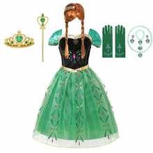 Disney Prinses Anna Dress Up Voor Meisjes Frozen Koorts Anna Green Tulle Jurken Kid Cosplay Party Dragen Bloemen Gown Carnaval kostuum