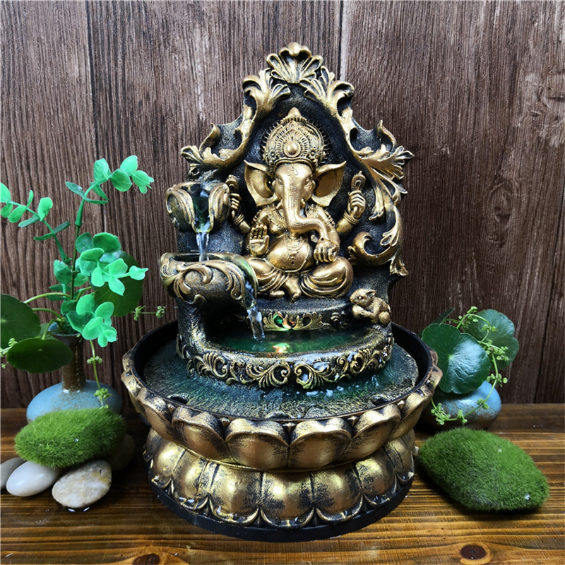 HandMade Hindu Ganesha Statue Indoor <font><b>Water</b></font> <font><b>Fountain</b></font> Led Waterscape <font><b>Home</b></font> <font><b>Decorations</b></font> Lucky Feng Shui Ornaments Air Humidifier image