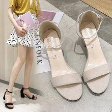 Liren 2019 Summer PU Flock Women Sandals Fashion Sexy Lady Casual Square Heels Buckle Round Open Toe Size 35-39