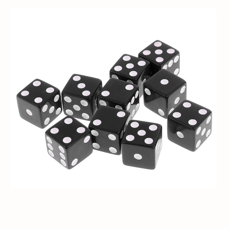 10 Pcs/lot  Black Point Dice Puzzle Game 6 Sided Square Corner Dice Funny Game Accessory 16mm