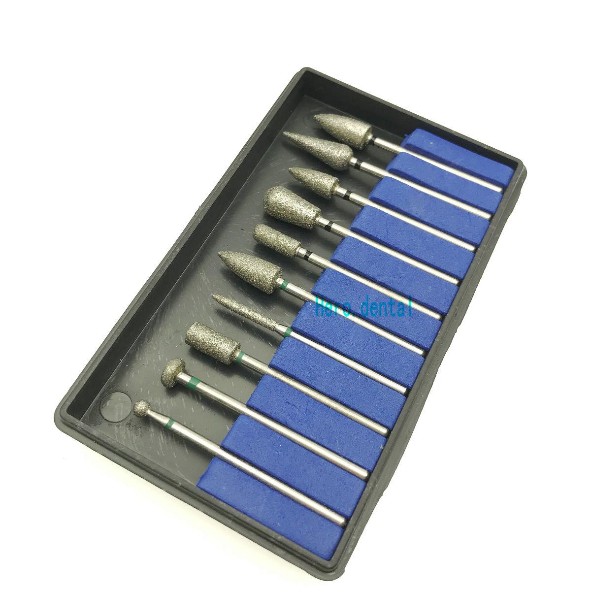 10pcs Dental Sintered Diamond Point Polisher Dental  HP Shank Rotary Bur Set Lab 2.35mm