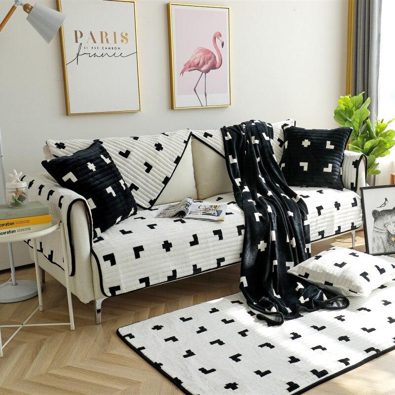 Купить зимняя нескользящая плюшевая диванная подушка всесезонная универсальная