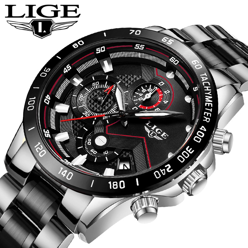 LIGE New Men Watch Business Waterproof Date Watches Fashion Multifunction Stainless Steel Black Quartz Watch relojes para hombre 1