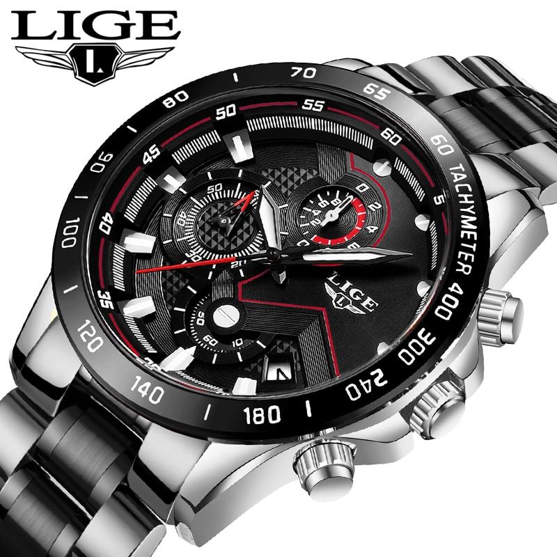 LIGE New Men Watch Business Waterproof Date Watches Fashion Multifunction Stainless Steel Black Quartz Watch relojes para hombre 1