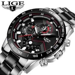 LIGE New Men Watch Business Waterproof Date Watches Fashion Multifunction Stainless Steel Black Quartz Watch relojes para hombre