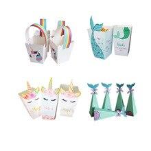 Küçük denizkızı parti malzemeleri Mermaid patlamış mısır kutusu Unicorn parti şeker kutusu çanta çocuklar lehine doğum günü düğün parti dekorasyon