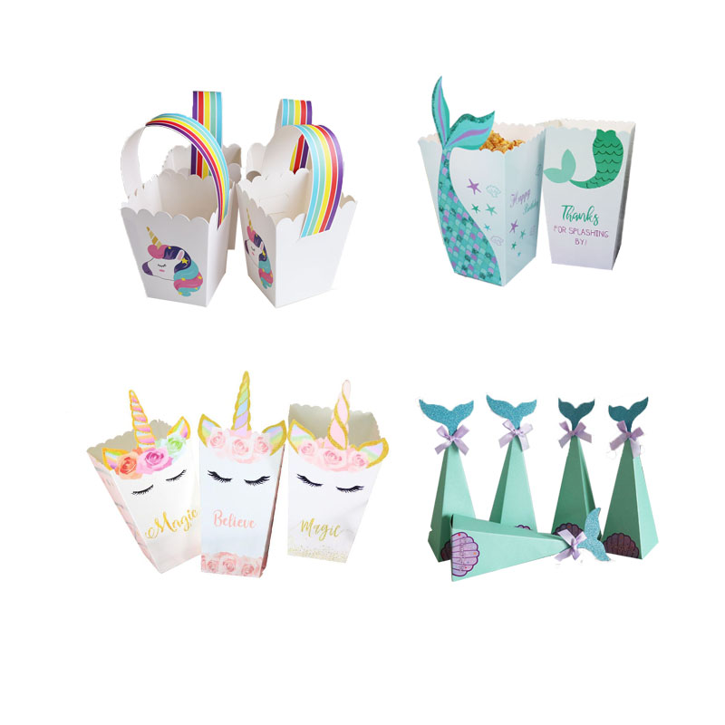 Little Mermaid Party Supplies Mermaid Popcorn Box Unicorn Party Candy Box Bag Kids Favor Birthday Wedding Party Decoration