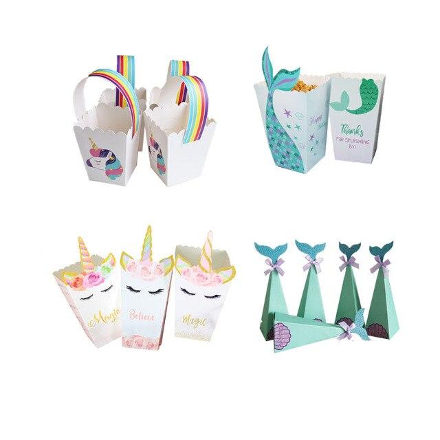 קטן ספקי צד בת ים בת ים פופקורן תיבת Unicorn המפלגה סוכריות תיבת תיק ילדים לטובת יום הולדת מסיבת חתונת קישוט