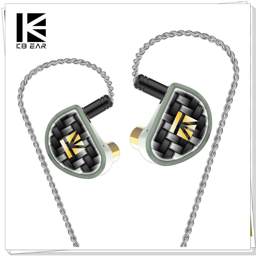 KBEAR алмазные Углеродные (DLC) с покрытием ПЭТ с ЧПУ металлические наушники в ухо отдельный 2pin кабель HiFi DJ спортивные наушники с уравновешенным