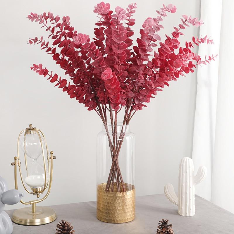 76cm Artificial Eucalyptus Branch Plastic Plant Foliage Flower Arrangement Fake Leaves Wedding Flower For Home Bonsai Decoration
