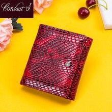 Contacts Wallet cartera de piel auténtica para mujer, monedero con broche, monedero RFID, tarjetero, monedero pequeño