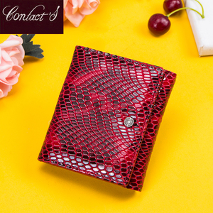 Image 1 - Contacts Womens Wallet Genuine Leather Purse Hasp Coin Pocket RFID Wallet Card Holder Femal Money Bag Small Carteira Feminina