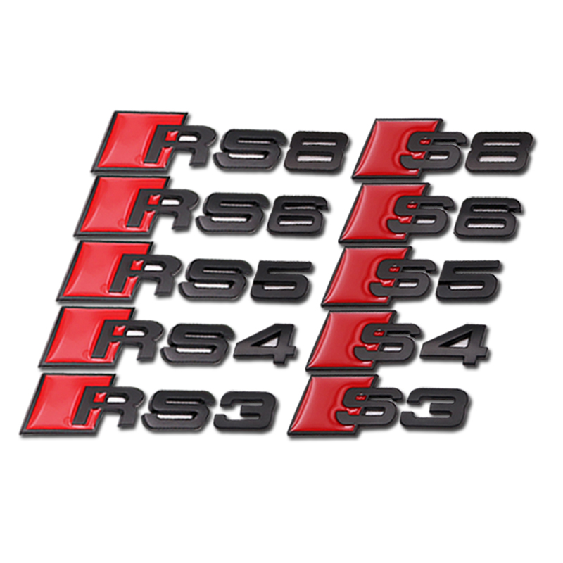 Car Styling 3D Metal Sticker Badge Logo Emblem For Audi A3 A4 A5 A6 RS3 RS4 RS5 RS6 RS8 S3 S4 S5 S6 S8 Decoration Accessories