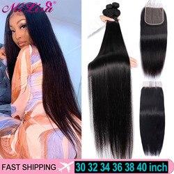 30 Inch Long Bone Straight Bundles With Closure Brazilian Hair Weave Bundles With Closure with Human Hair Bundles and a closure