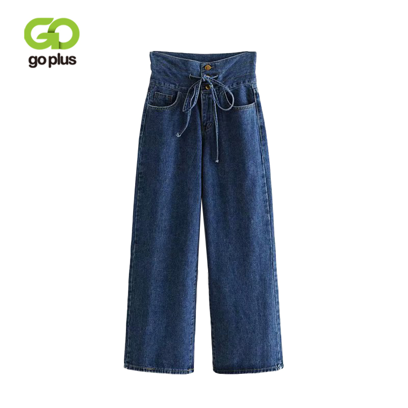 GOPLUS 2019 Autumn Winter High Waist Jeans Boyfriend Women Lace Up Denim Ladies Causal Woman Female Wide Leg Pants