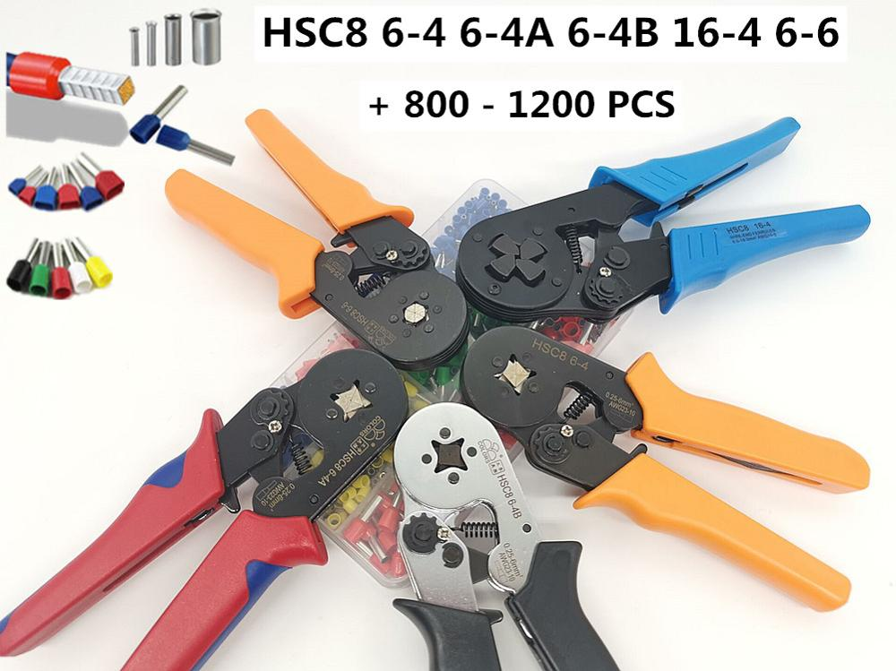 Tubular Terminal Crimper HSC86-6 0.25-6mm 23-10AWG & 10SA 0.25-10mm 23-7AWG Electrical Crimping Pliers Hand Tools Set HSC8 6-4
