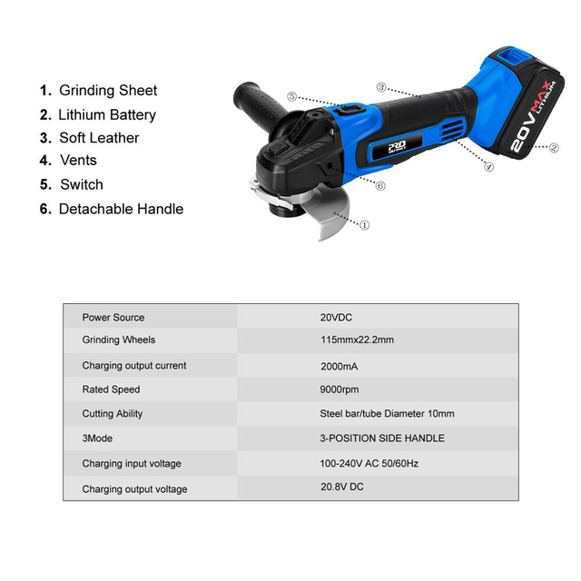 Cordless Angle Grinder 20V Lithium-Ion Battery Machine Cutting Electric Angle Grinder Power Tool By PROSTORMER 2