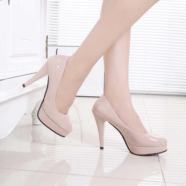 Sığ Ağız tek ayakkabı Siyah iş ayakkabısı Seksi Yüksek Topuklu Kırmızı Düğün Ayakkabı Parti Elbise Pompaları Büyük Boy Bayan Ayakkabıları 41,42