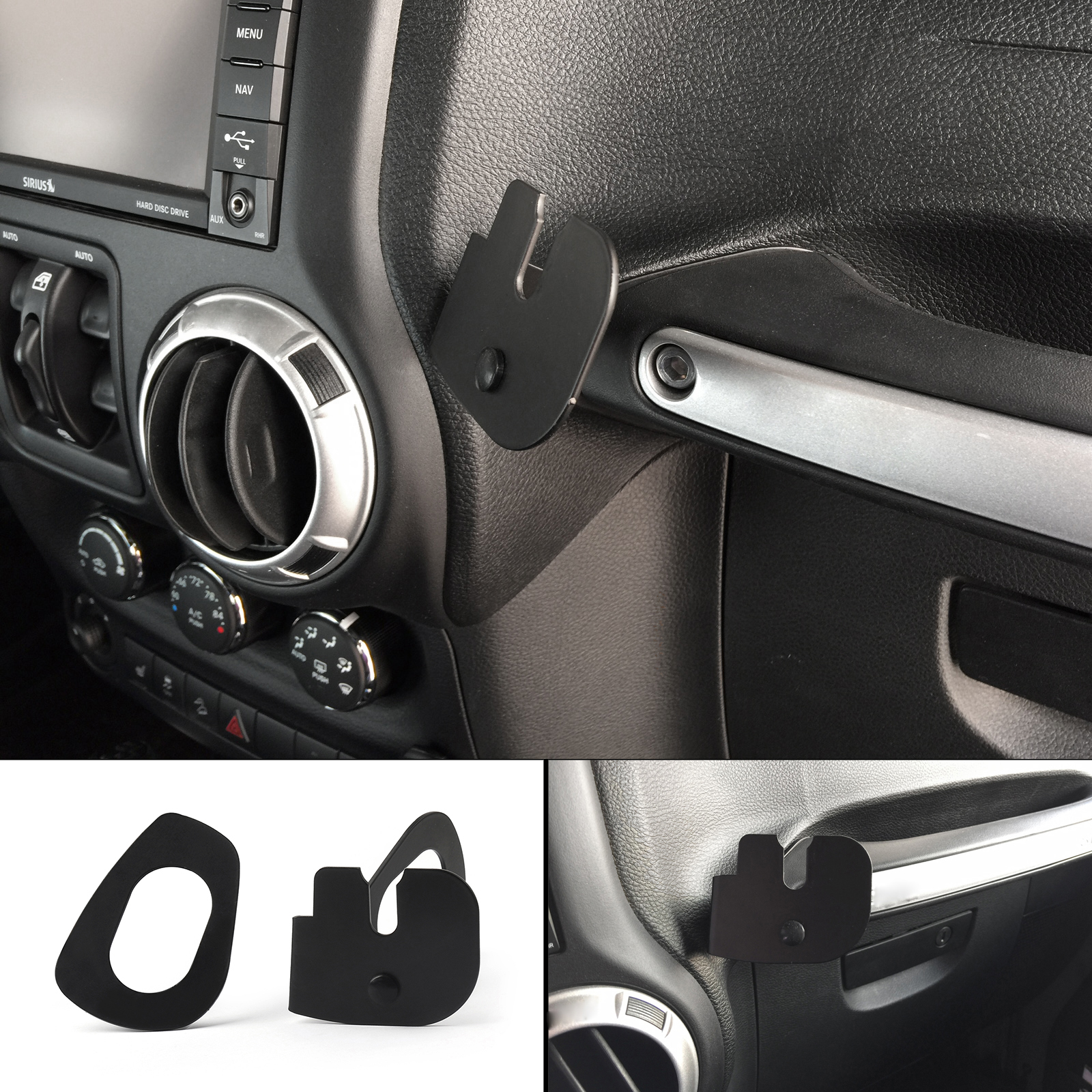 Artudatech For Wrangler JK 2011+ 75WXST CB Radio Mic Mount Holder Passenger Grab Bar Walkie Talkie Accessories