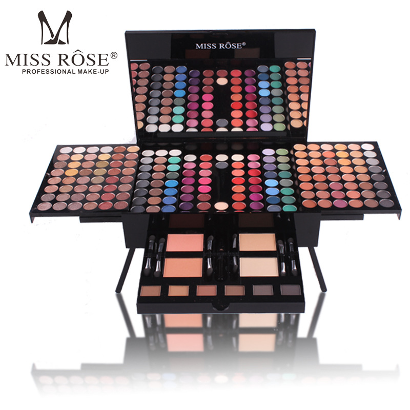 MISS ROSE Brand 180color Eyeshadow Palette Matte Nude Shimmer Long Lasting Eye Shadow Palette With Brush Eyebrow Powder Blusher