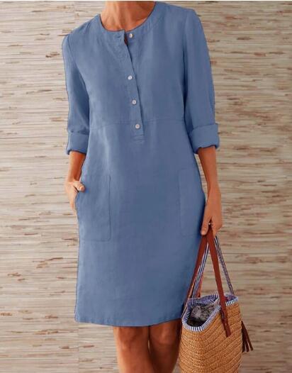 1 piece Cotton Linen three quarter sleeve female straight Midi Single Breasted Comfortable dresses for women платье летнее 2