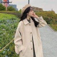 Lana donna colletto rovesciato bottone Fly cappotti di lana donna resistente al freddo caldo miscele più spesse signore Chic Ins moda All-match