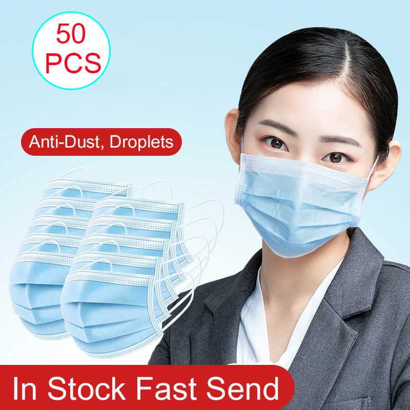 50 PCS Anti-Dust Mouth Face Mask Earloop Disposable Waterproof Filter Mask Half Face Protective Mascarillas Face Mask For Femal