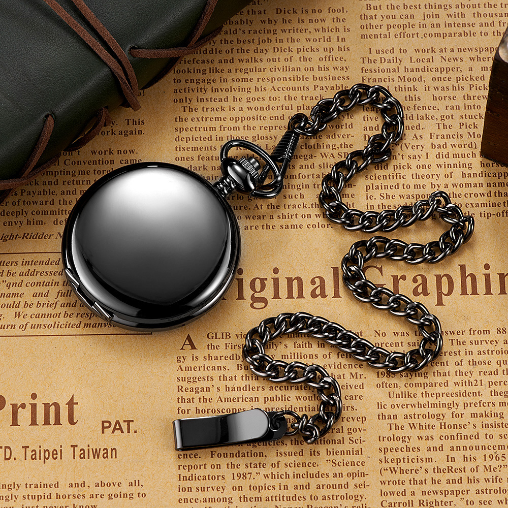 OYW Hand Winding Mechanical Men Pocket Watch Steampunk Black Skeleton Dial Steel Necklace Pendant Fashion Chain Fob Watches