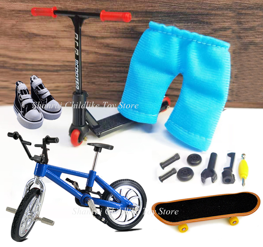 Finger scooter Two Wheels Fingerboard Set Mini Skate Parts Skateboarding Deck Fingertip Ice skates Bikes Desk Novelty Toys Kids