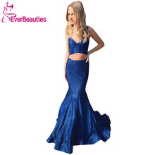 цена на Vestidos Formales Two-Pieces Evening Dress 2020 Mermaid Sequins Long Robe De Soiree Backless Dress Women вечерние платья