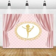 Laeacco Roze Gordijn Goud Guirlande Patroon Balletdanser Fotografie Achtergronden Foto Achtergronden Baby Verjaardag Photophone Props
