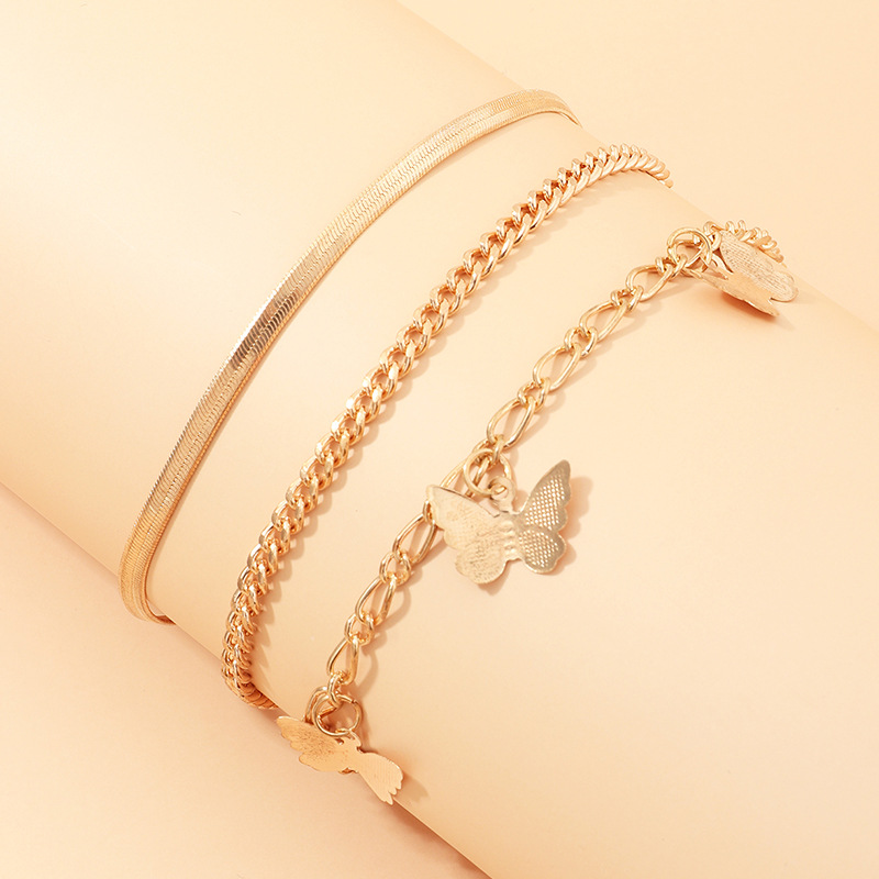 3 Pcs Simple Snake Chain Anklets Bracelet Womens Alloy Butterfly Pendant Leg Chain Gold Anklet Foot Feet Jewelry For Girls