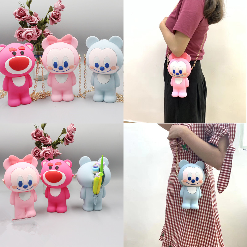 3D Cartoon Silicone Pencil Case For Children School Supplies Stationery Gift Pencil Case With Zipper