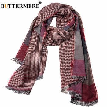 цена на BUTTERMERE Men Scarf Plaid Double-Sided British Style Scarf for Men Red Purple Blue Long Mens Scarves Autumn Winter Accessories
