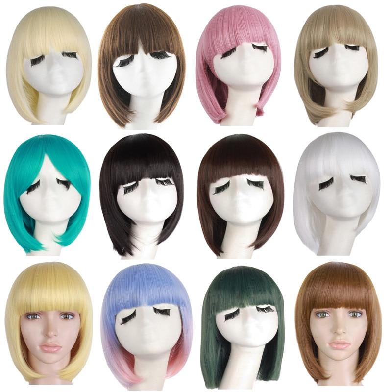 MANWEISynthetic Short Bob Wigs For Women Natural Hair Brown Black  Linen Grey Wig With Korean Air Bangs