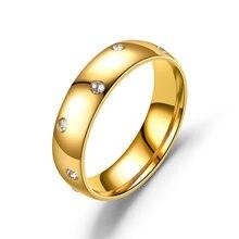 AsJerlya Neue Titan Stahl Zirkon Weibliche 316L Edelstahl Gold Ring Für Frauen Liebhaber Ring Schmuck Großhandel