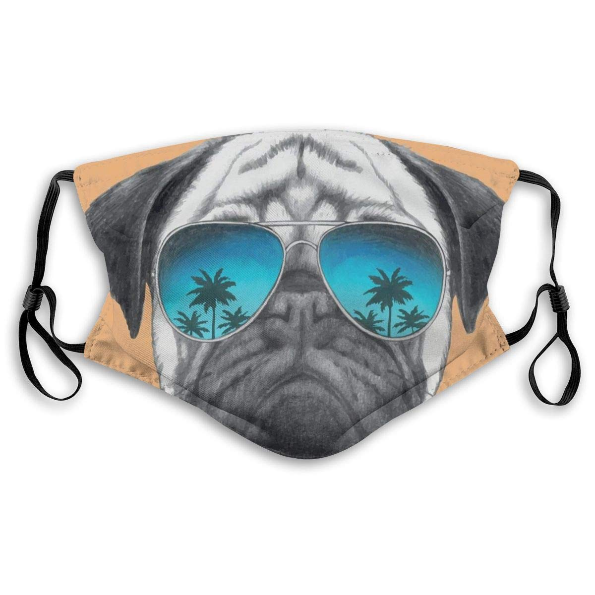 Unisex Half Face Mouth Mask Face Masks Anti-Dust Face Windproof Ski,Dog With Reflecting Aviators Palm Trees Tropical Environment