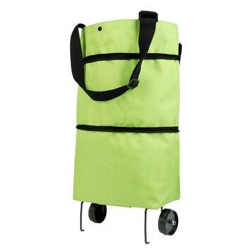 Sac pliant de chariot de chariot de traction d achats avec des roues sacs provisions pliables