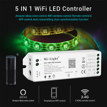 Miboxer YL5 2.4G 15A 5 IN 1 WiFi LED Controller For Single color CCT RGB RGBW RGB+CCT Led Strip Support for Amazon Alexa Voice(China)