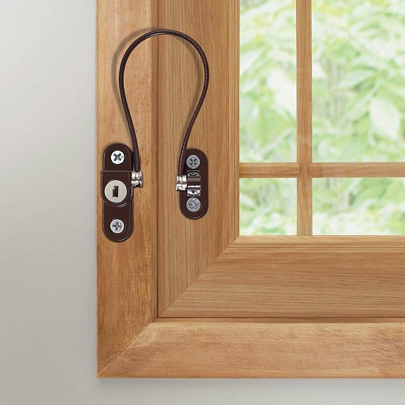 Door Window Security Lock Window Restrictor Safety Device Key Lock Child Safe 245mm Limit Child Safety Doors Lock