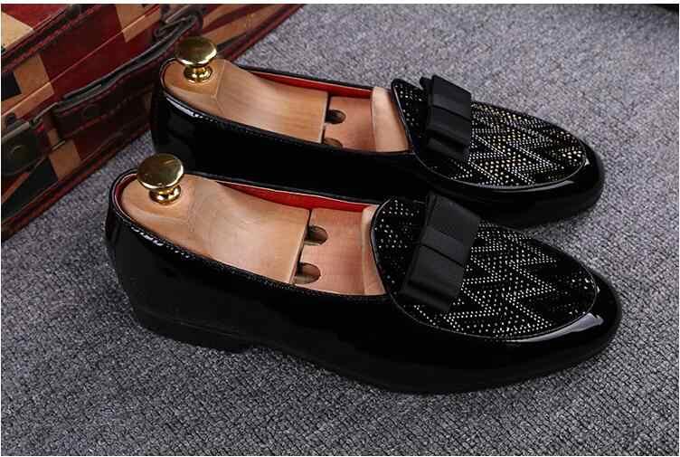 2020 модная дизайнерская Свадебная обувь из флока; Мужские черные туфли со стильным бантиком Стразы мужская обувь на плоской подошве Вечерние платья на выпускной; Обувь в деловом стиле