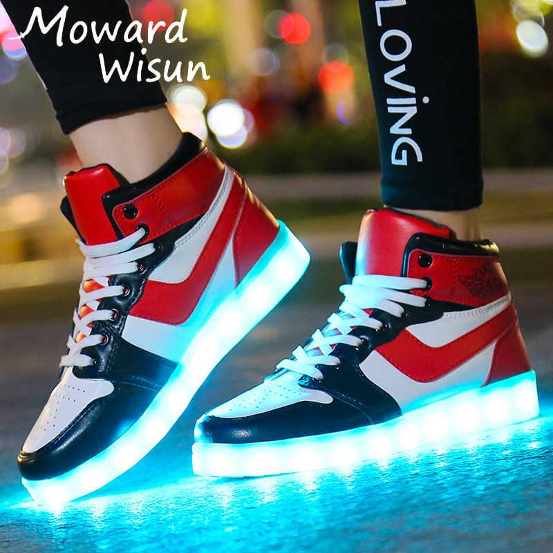 ขนาด 30-44 USB ชาร์จเด็กรองเท้าผ้าใบส่องสว่าง Led รองเท้าเด็กหญิงเรืองแสง Lighted รองเท้าที่มีไฟรองเท้าสบายๆ