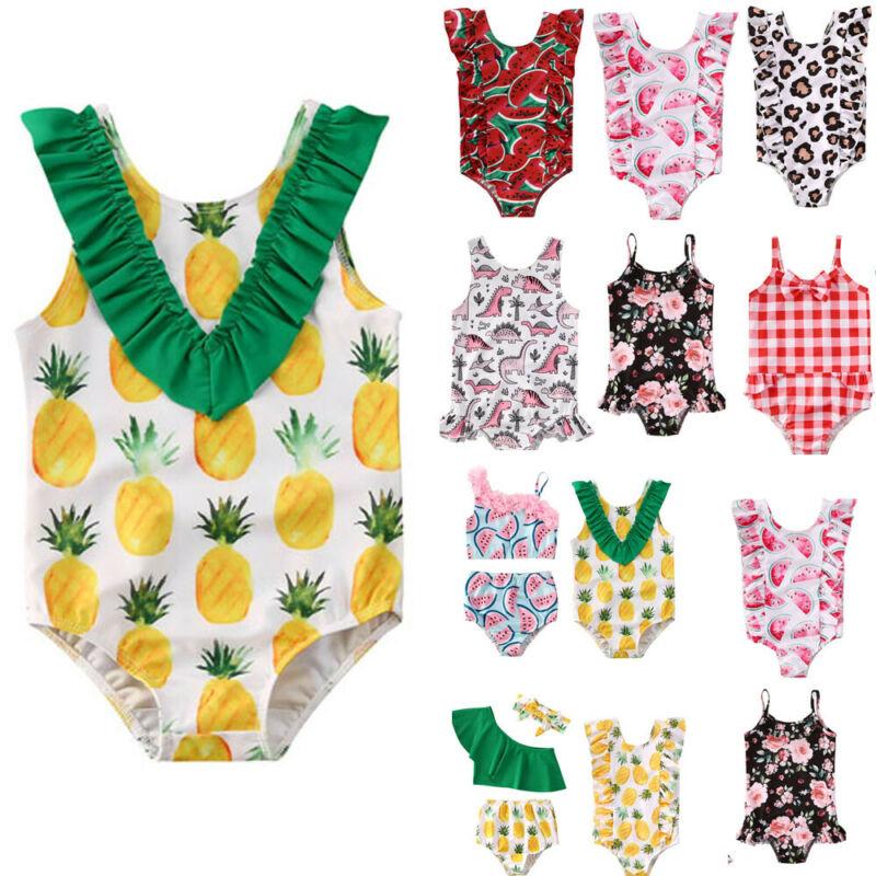 Summer Swimsuit for Little Girls Toddler Baby Girls  Bikini Suit Fruits Print Ruffles Swimsuits Swimwear Bathing Suit