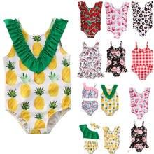 Maiô de verão para meninas da criança do bebê meninas biquíni terno frutas impressão babados maiôs maiô